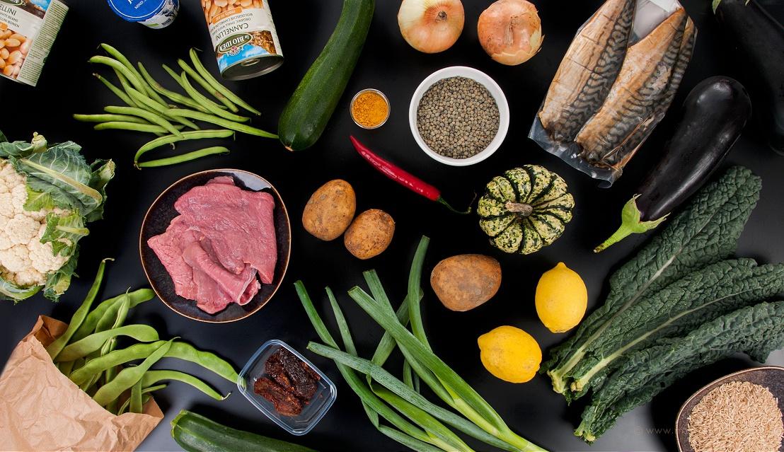 De inhoud van De Krat, allemaal verse groenten, vlees en vis!