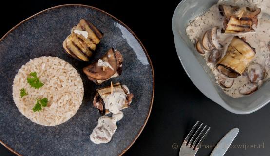 Een lekker gerecht van Willem&Drees Auberginerolletjes met gehakt en rijst