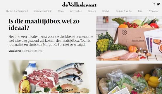 Artikel uit de Volkskrant over maaltijdboxen