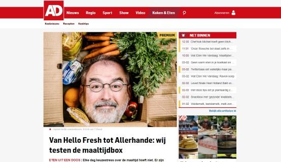 Artikel in AD over maaltijdboxen